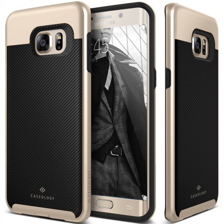 Caseology® Envoy Series Samsung Galaxy S6 Edge Plus Carbon Fiber Black + 1 Gratis S6 Edge Plus Screenprotector