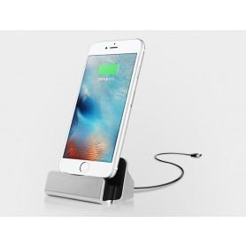 Premium iPhone 8 / 7 / Plus /  6S / 6 / 5 /  5S / 5C / 6 Plus / SE Desktop Luxe Premium Docking Station Sync Oplader - Zilver