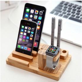 Deluxe Edition Apple Watch 38mm / 42mm Luxe Bamboo Echt Houten Premium Stand Houder / iPhone 6 / SE / 5 / Pennen