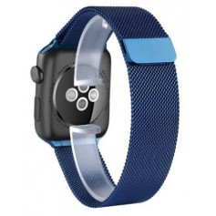 Special Edition 42mm Apple Watch Milanese Armband Roestvrij Staal Magnetische Sluiting + Adapter Blauw