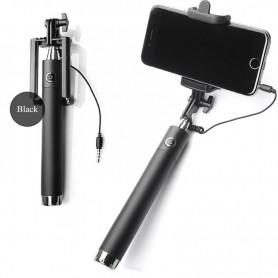 Premium Luxe Pocket Selfie Stick Universeel Met Kabel Afstandsbediening Zwart