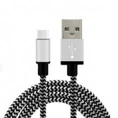 1 meter Gecertficieerd Extra Sterke NYLON Type C USB kabel - Wit