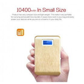 100% 10400 mAh Powerbank met LED - Indicatie + LED Lamp Luxurious Goud