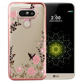 LG G5 Flower Bloemen Case Diamant Crystal TPU Hoesje - Rosegold