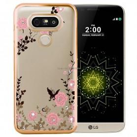 LG G5 Flower Bloemen Case Diamant Crystal TPU Hoesje - goud