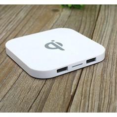 Qi lader - Dual USB Q8 Draadloze Oplader Pad met 2 USB Ingangen 5V --1A - Wit