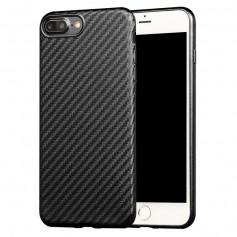 iPhone 7+ Plus X-LEVEL 0.8mm Carbon fiber Textuur TPU Soft Case - Zwart