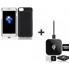 iPhone 8 / 7 - 3 in 1 set Draadloos Opladen Wireless Premium Transparante Receiver Case Night Shade + DUAL QI Oplaadpad