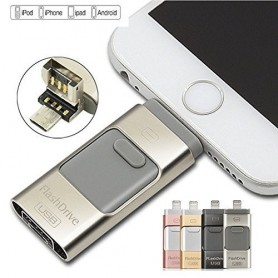 FlashDrive Dual Storage Zilver IOS / ANDROID & MAC / Windows- 100% Security + Extra Opslag - 16 GB