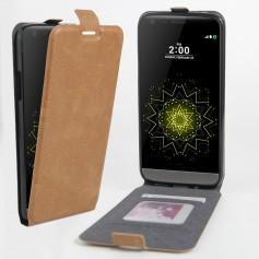 Luxe PU Lederen Soft Case Hand Flip Cover S7 Edge - Bruin