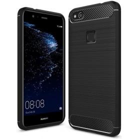 HUAWEI P10 Lite Carbon Fiber Style TPU Case Zwart