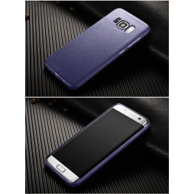 Leren Look TPU Soft Ultra Dun Hoes Samsung Galaxy S8 Midnight Blue