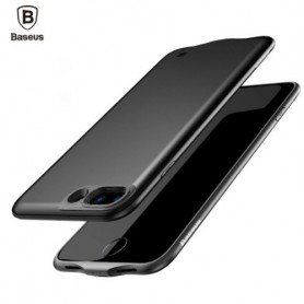 Baseus iPhone 8 / 7 Barely Visible Smart Batterij Case 2500 mAh Accu - Eclipse Zwart + Screenprotector