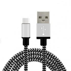 2 meter Extra Sterke NYLON Type C USB kabel voor LG G5 / Nexus 6P / Nexus 5X / Oneplus 3 / 2 / Tab / Macbook 12 inch - Wit