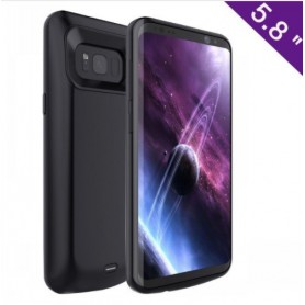 Samsung Galaxy S8 Externe Batterij Case Powerbank Hoesje 5500 mAh Solar Black + Type C Kabel