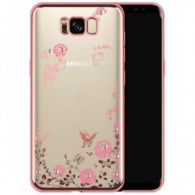 Flower Bloemen Case Diamant Crystal TPU Hoesje S8 Plus - Rose Goud