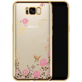Flower Bloemen Case Diamant Crystal TPU Hoesje S8 Plus - Goud