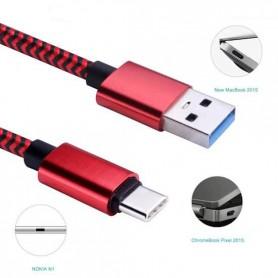 Reversible Gecertificeerd 1 Meter USB 3.1 Type C  EXTRA sterk woven Laad en datakabel - Rood