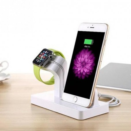 2 in 1 Luxe Docking Station + Apple Watch 1 / 2 Dock Stand Premium Edition - Infinity White