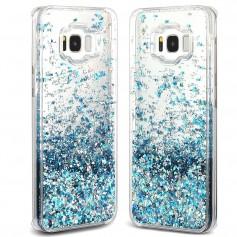 Hartjes & Glitter Luxe Vloeibare Case S8+ Plus - Azure Blauw