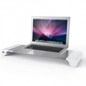 Luxe Desktop Monitor Aluminium A6061 iMac / Macbook  / Surface / Ultrabook Stand Met 4 USB Poorten