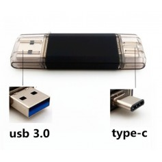32GB - Type C 3.1 FlashDrive USB STICK Smartphone / Tablet USB C Zwart MAC / Windows- 100% Security + Extra Opslag
