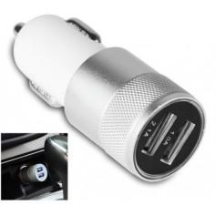 Universele Auto lader 3.1A extra sterk met dubbele USB poort en LED lamp WIT