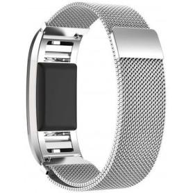Fitbit Charge 2 Milanese Horloge Bandje met magneetsluiting - zilver