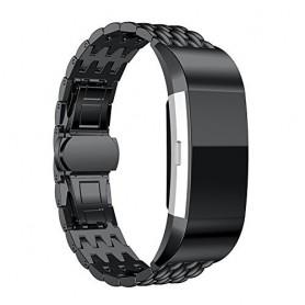 Fitbit Charge 2 gevlochten stalen armband -Inclusief Adapters - Zwart