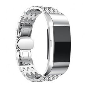 Fitbit Charge 2 gevlochten stalen armband -Inclusief Adapters - Zilver