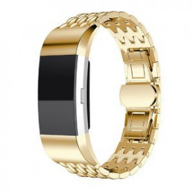 Fitbit Charge 2 gevlochten stalen armband -Inclusief Adapters - Goud