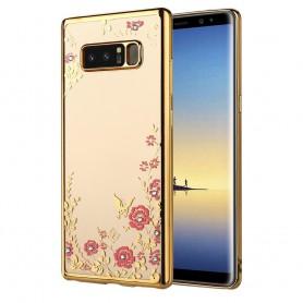 Note 8 Flower Bloemen Case Diamant Crystal TPU Hoesje  - Goud