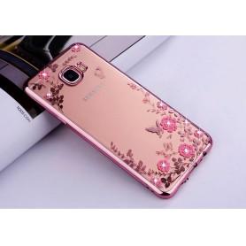Samsung C9 Pro Flower Bloemen Case Diamant Crystal TPU Hoesje - Rosegold