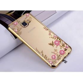 Samsung C9 Pro Flower Bloemen Case Diamant Crystal TPU Hoesje - goud