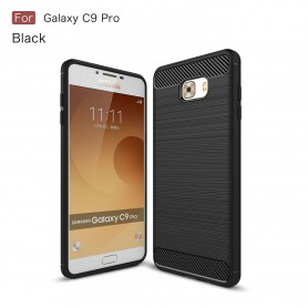 Samsung C9 Pro Geborsteld TPU case - Ultimate Drop Proof Siliconen Case - Carbon fiber Look