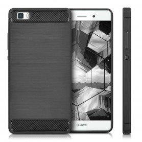P8 lite Geborsteld TPU case - Ultimate Drop Proof Siliconen Case - Carbon fiber Look
