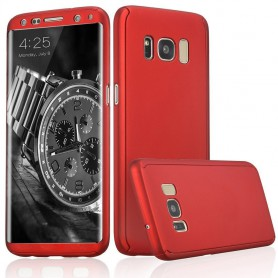 S8 Plus 360° case - full body hoesje - voor en achter CNC full coverage  - rood