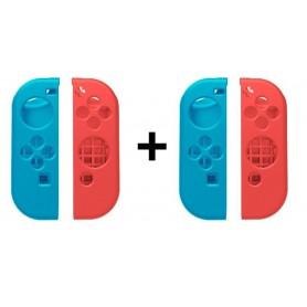 2-Pack Combi Pack Hoogwaardig Siliconen Bescherm Hoes Nintendo Switch Joy Con - Links / Rechts - Blauw/Rood