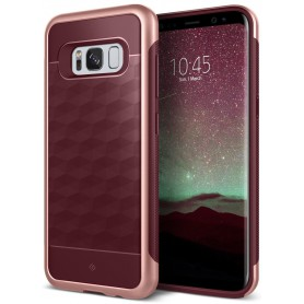 S8 Caseology® Parallax Series Shock Proof TPU Grip Case - Burgundy red