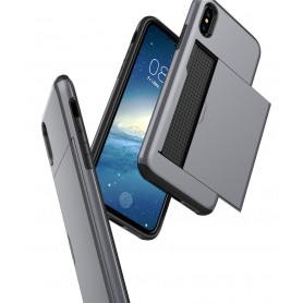 iPhone X Drop Proof Card Case Zilver Verstevigde Randen