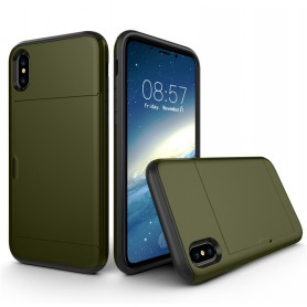 iPhone X Drop Proof Card Case Army Green Verstevigde Randen