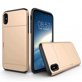 iPhone X Drop Proof Card Case Gold Verstevigde Randen