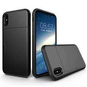 iPhone X Drop Proof Card Case Zwart Verstevigde Randen