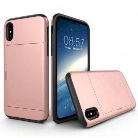 iPhone X Drop Proof Card Case Roze Verstevigde Randen