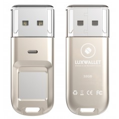 LUXWALLET® ARK Series Vingerafdruk 32GB USB Stick Kluis USB 2.0 AES256 Encryptie Bitcoin / Cryptocurrency Wallet + GPS Tracker