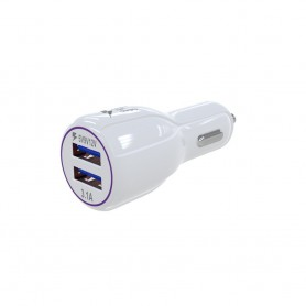 Universele Auto lader 3.1A FAST CHARGE met dubbele USB poort en LED lamp WIT
