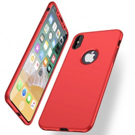 iPhone X Soft Gel Ultradunne schokbestendige Hybrid 360 TPU Case - Rood