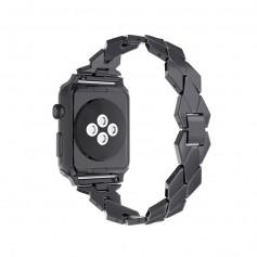 Apple Watch 1/2/3 42mm Horloge Band - Armband Rvs Roestvrij Staal Ruit Ontwerp - Inclusief Adapter - Zwart