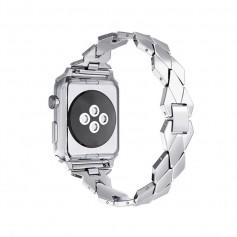 Apple Watch 1/2/3 42mm Horloge Band - Armband Rvs Roestvrij Staal Ruit Ontwerp - Inclusief Adapter - Zilver