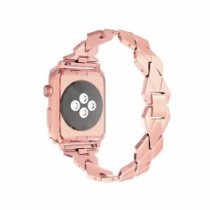 Apple Watch 1/2/3 42mm Horloge Band - Armband Rvs Roestvrij Staal Ruit Ontwerp - Inclusief Adapter - Rosegold